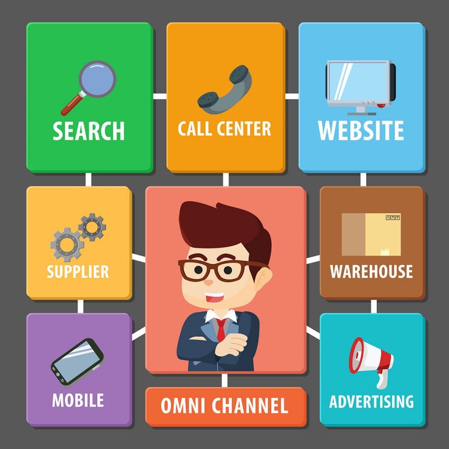 60654539 - square omni channel illustration design