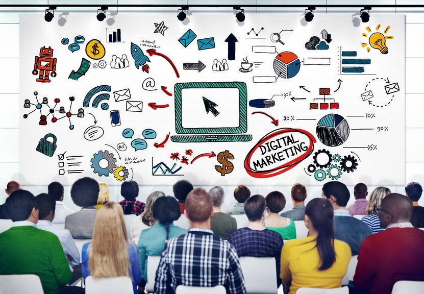 35338495 - diverse people in a seminar about digital marketing