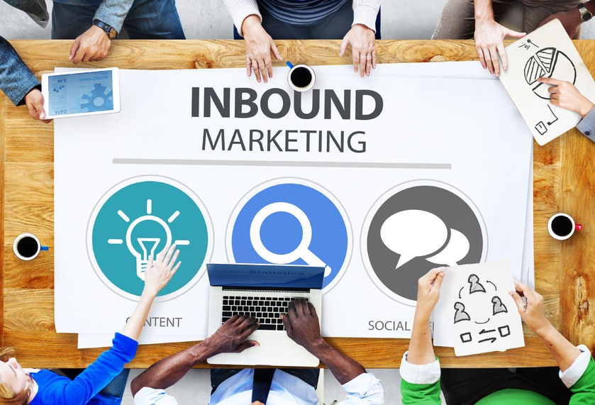 41440042 - inbound marketing commerce content social media concept