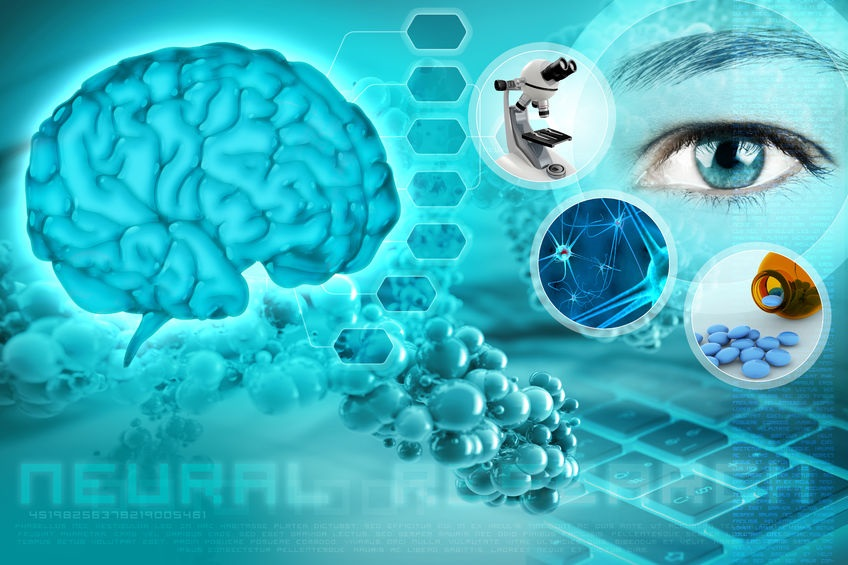 42589792 - human brain and eye in an abstract neurological background
