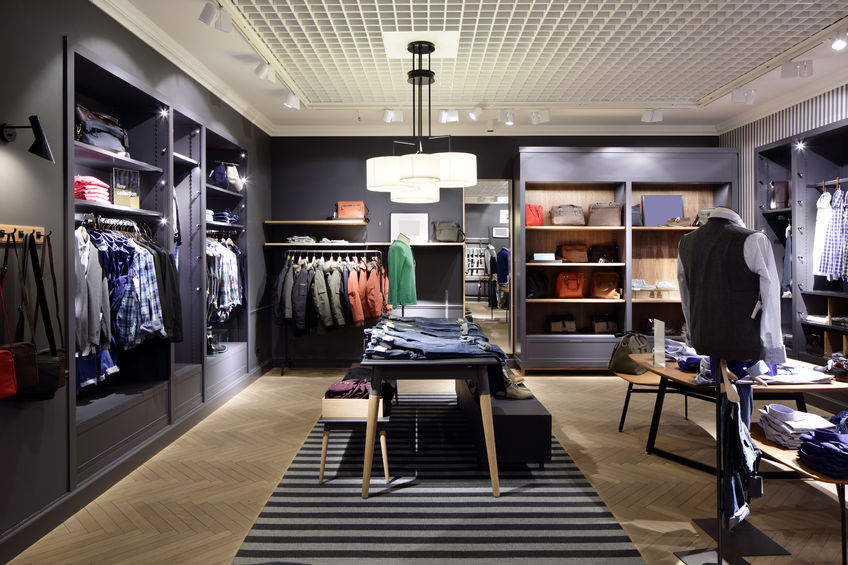 27975705 - luxury and fashionable brend new interior of cloth store
