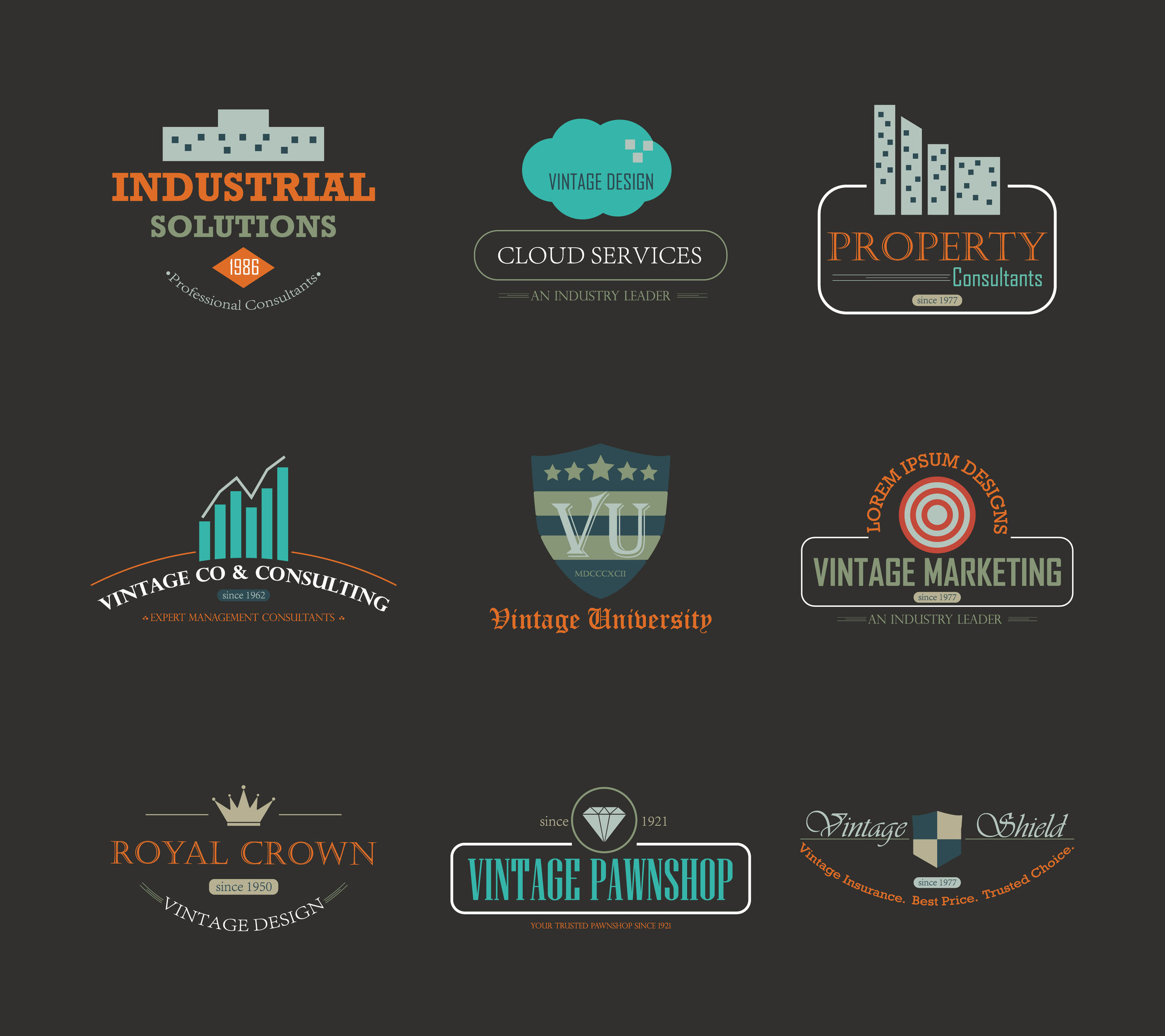 33726585 - set of vintage theme abstract business and industry logo design element