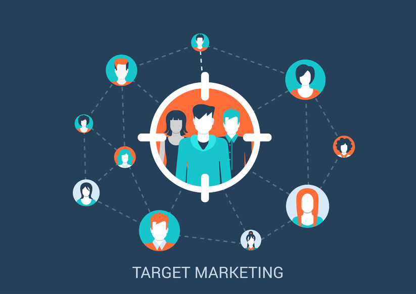 44797640 - flat style design vector illustration marketing targeting concept. target group of people in sight marker connected with other abstract profile avatars. big flat conceptual collection.