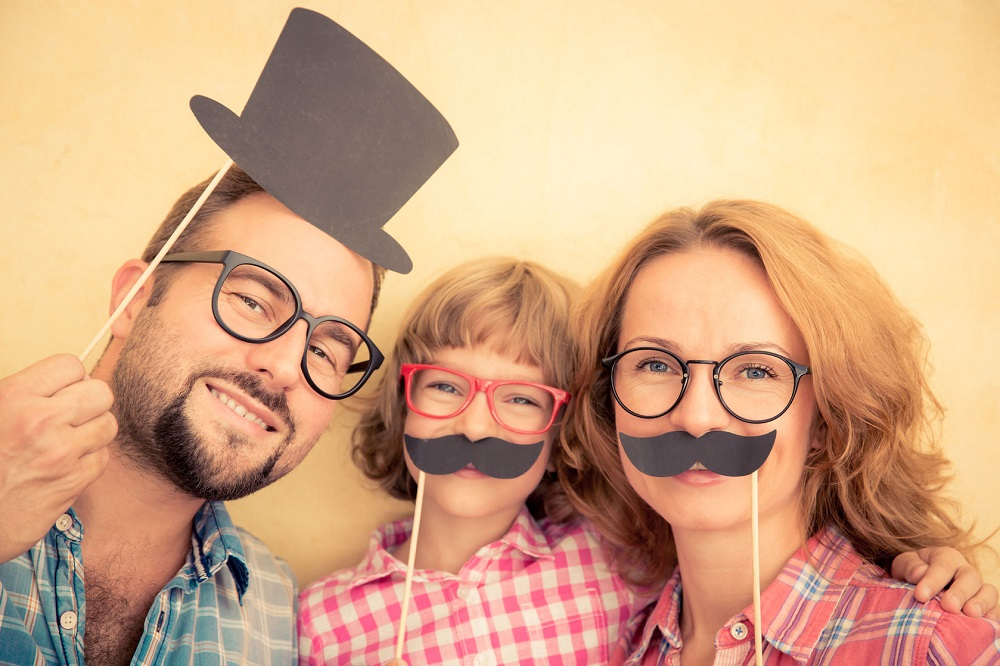 46594452 - family with fake mustache