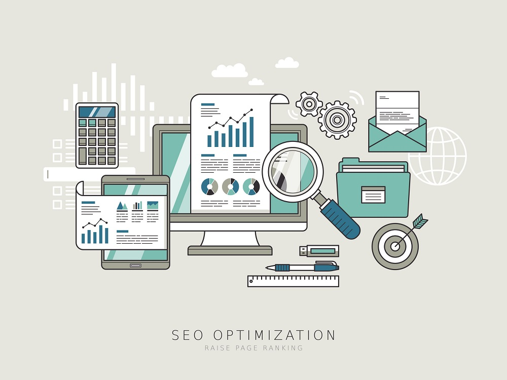 41195131 - seo optimization concept in thin line style