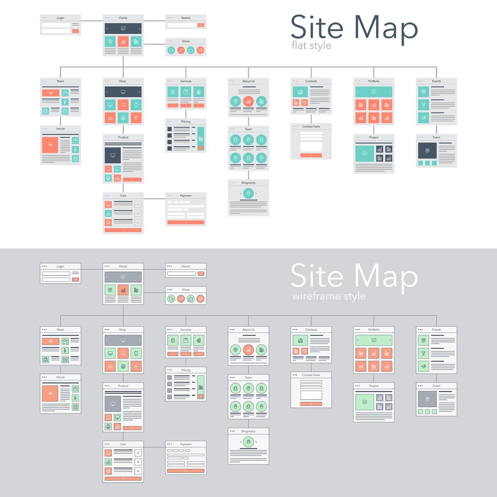 54246490 - flat and wireframe design style vector illustration concept of website flowchart sitemap.